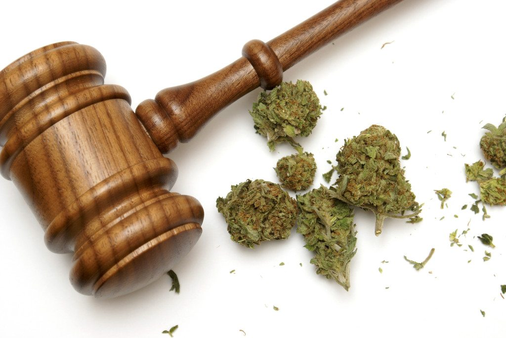 Marijuana and a gavel together